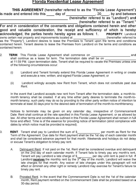florida residential lease agreement  kb
