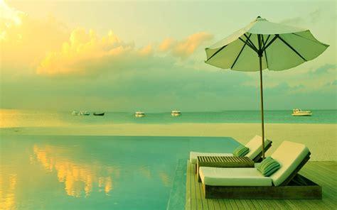 Sun Setting Over Luxury Tropical Resort Hd Wallpaper
