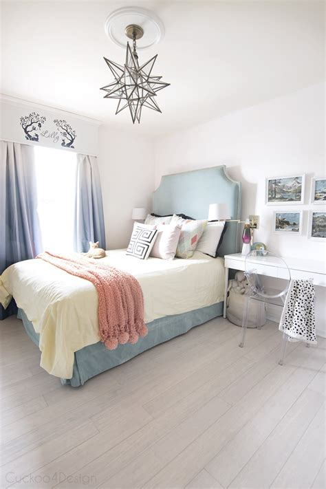 teal turquoise coral and yellow bedroom cuckoo4design