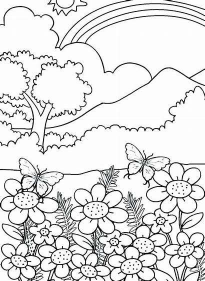 Coloring Nature Pages Printable Adults Getcolorings