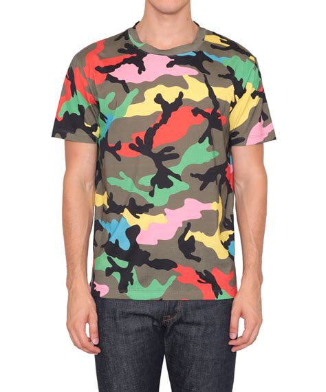 valentino t shirt lyst valentino camouflage print cotton jersey t shirt for in gray for