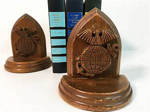 Vintage, 2, Wood, Nautical, Bookends, -, Pair, Of, Carved, Wood, Bookends
