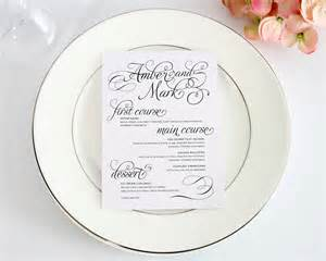 wedding menus charming script 5 7 wedding menus wedding menus by shine