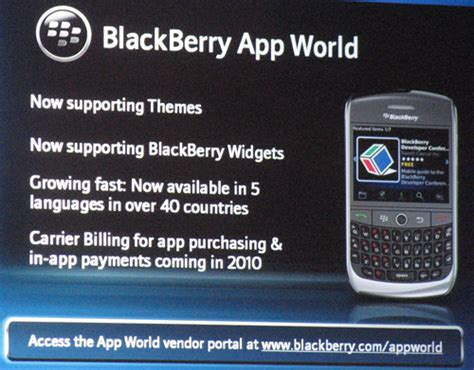 themes widgets and carrier billing announced for blackberry app world intomobile