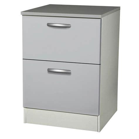 meuble cuisine largeur 55 cm meuble de cuisine bas 2 tiroirs casseroliers gris