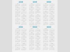 Calendar 2018 2019 2020 2021 2022 2023 free vector