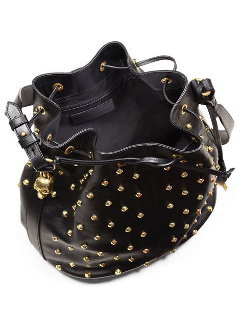 lyst alexander mcqueen studded leather bucket bag  black
