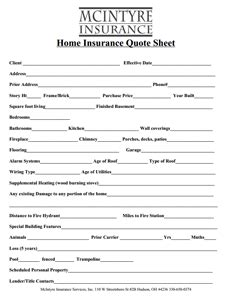 Boat Insurance Quote Sheet by Home Insurance Quote