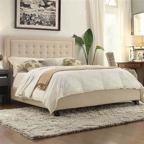 Bedroom Ideas Upholstered Headboard by King Size Beige Upholstered Bed With Button Tufted