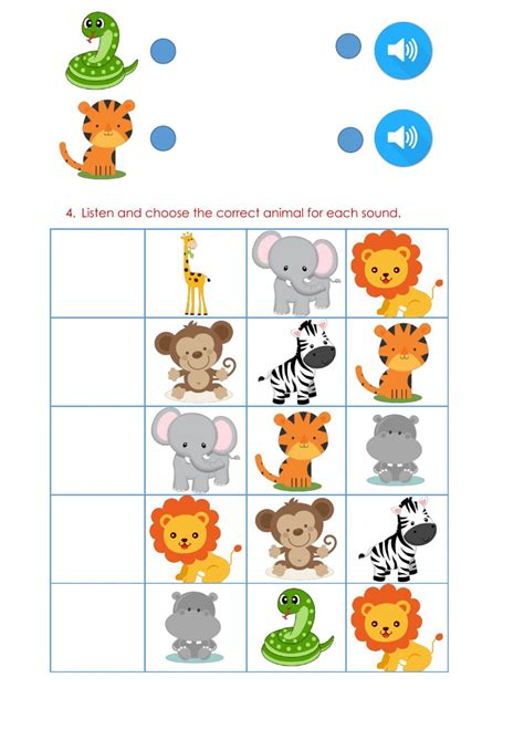 wild animals interactive worksheet
