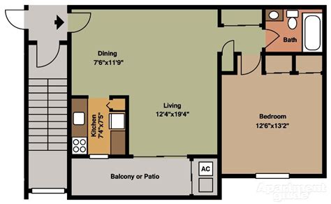 one bedroom house plans pet friendly apartments in lower bucks county pa canal 16556 | Canal House 1 Bedroom Floor Plan