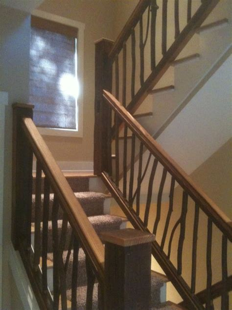reclaimed pine  hickory railings rustic staircase