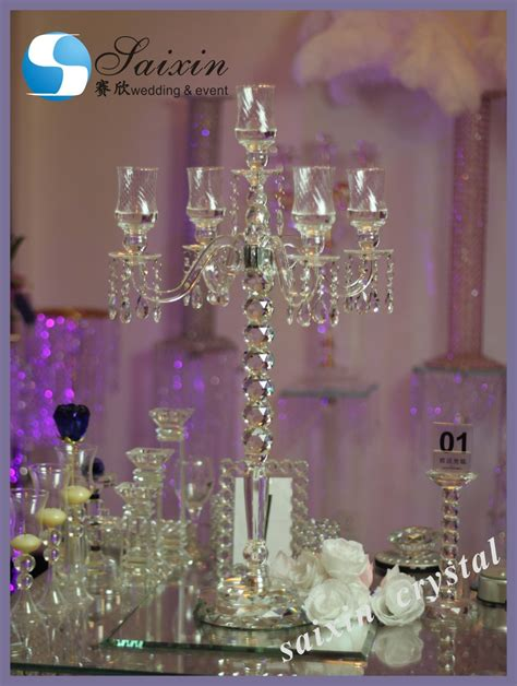 5 arms clear crystal candle stand used wedding zt 101