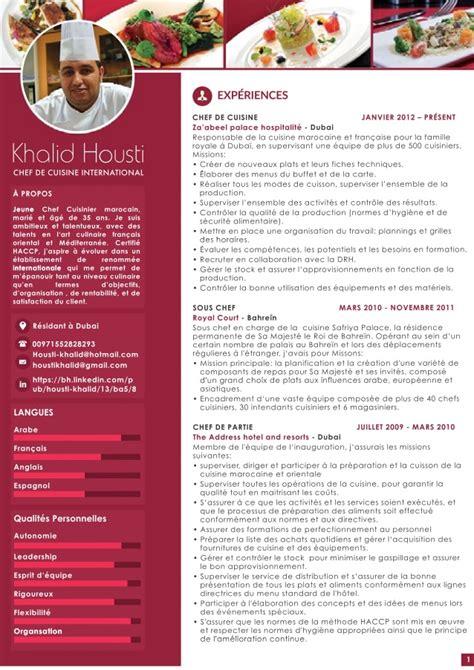 cv chef de cuisine khalid housti cv fr web