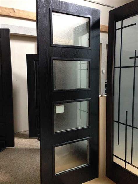 modern fiberglass woodgrain  glass door