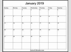 Free Printable January 2019 Blank Templates Latest Calendar
