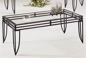 Black metal base 3pc coffee table set w clear glass tops for Black metal coffee table with glass top
