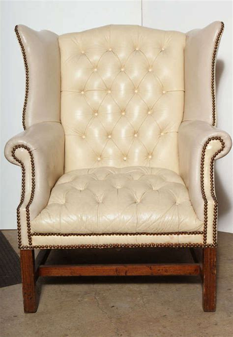 white leather wing back chair at 1stdibs