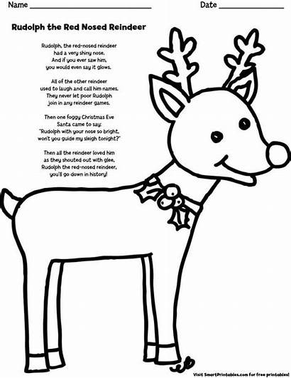Reindeer Rudolph Nosed Lyrics Coloring Printable Song