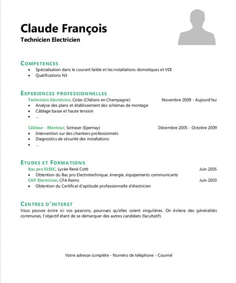 Comment Faire Un Cv Exemple Gratuit by Faire Un Cv Exemple Cv A Telecharger Gratuit