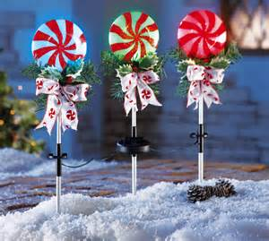 set of 3 peppermint solar powered stake lights yard lawn decor ebay