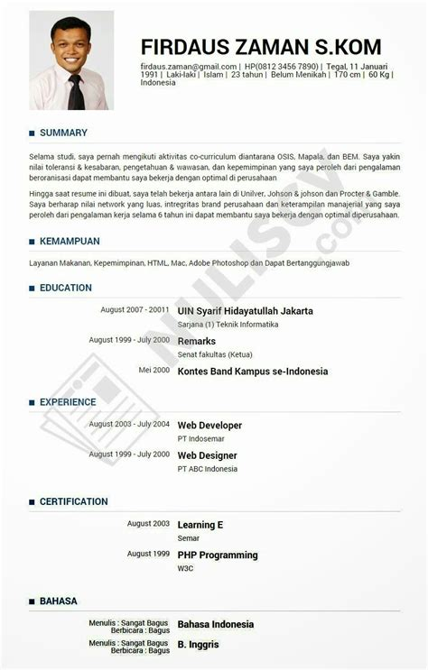 Contoh Resume Yang Baik by Contoh Curriculum Vitae Lamaran Kerja Holidays Oo