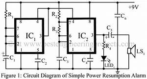 simple power supply resumption alarm using timer ic ne555 With in addition 555 timer circuits projects on 556 timer circuits diagram