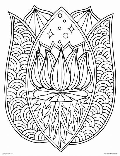 Coloring Pages Flower Adults Lotus Mandala Printable