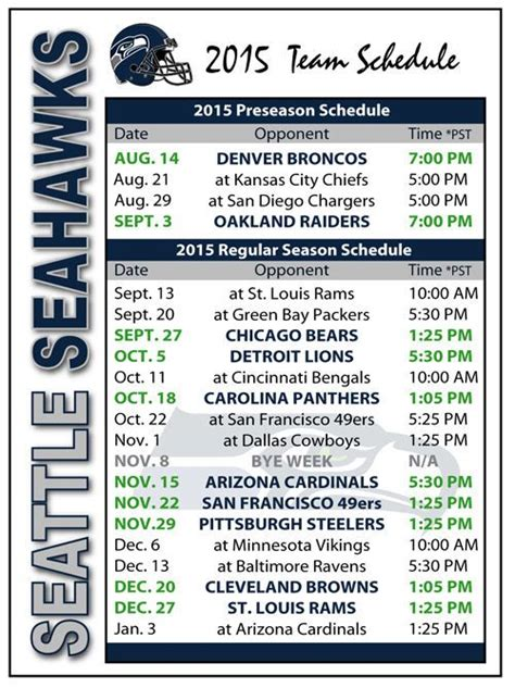seahawks football schedule ideas  pinterest