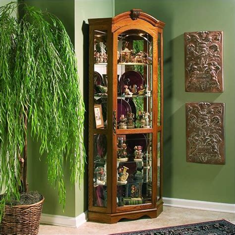 estate oak corner curio cabinet 20639