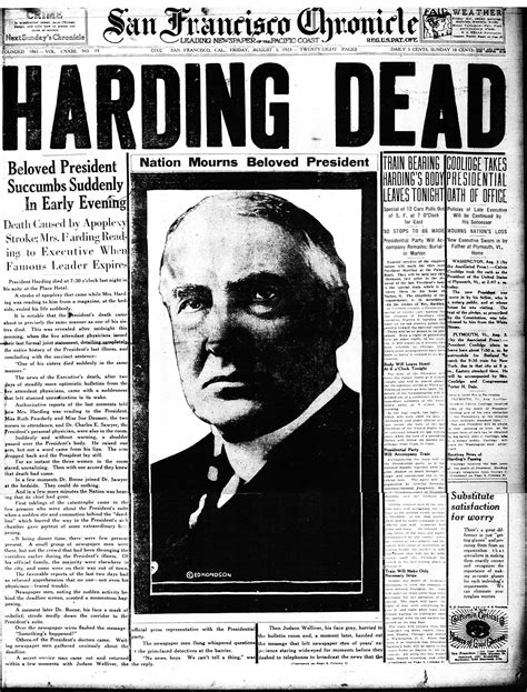 Chronicle Covers When A Us President Died In San