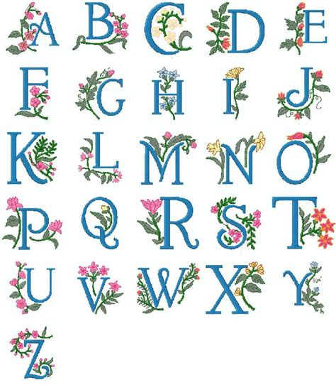 freepesembroiderydesigns brother pes machine embroidery alphabet  collection floral