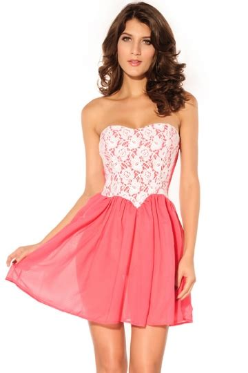 pink pretty womens lace pleated tube dress pink queen