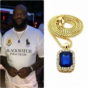 ICED OUT BLUE PENDANT GOLD CHAIN NECKLACE HIPHOP RICK ROSS ...