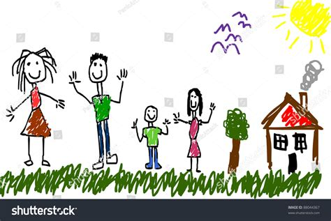 child drawing family house tree stock vector