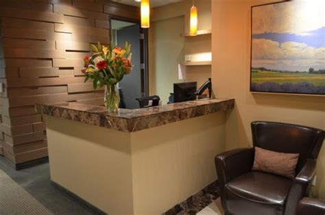 small office reception area design ideas with leather