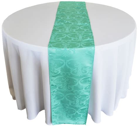 tiffany blue table runner 12 quot x108 quot versailles chopin jacquard damask polyester table