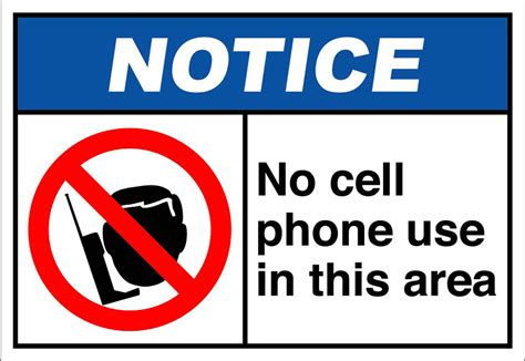 No Cell Phone Use In This Area Notice Osha Ansi Aluminum