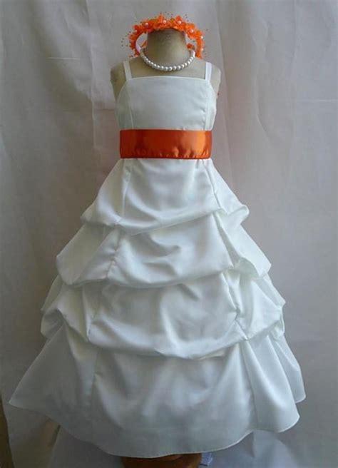 flower girl dresses ivory  orange pick  dress