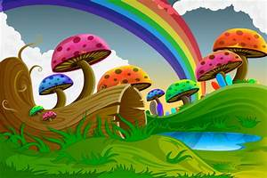 Colorful Cartoon Mushrooms Forest Scene - WeLoveSoLo