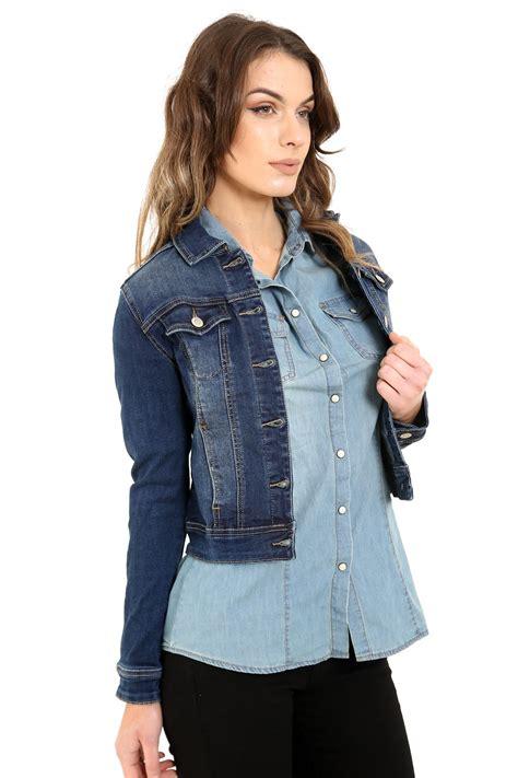 light denim jacket womens new womens cropped mid wash blue stretch denim long sleeve