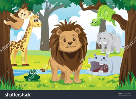 vector illustration wild jungle animals animal stock