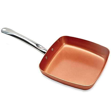 copper pots and pans set bed bath and beyond copper chef 9 5 inch square nonstick fry pan