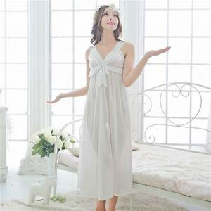 free shipping women white sexy black nightdress girls plus With robe de nuit longue