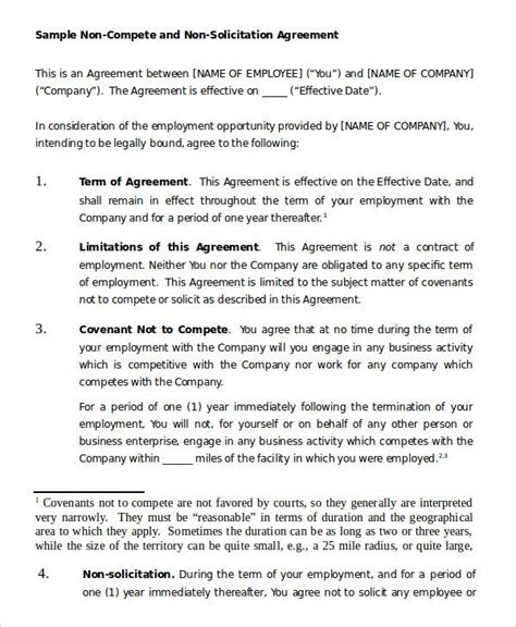 compete agreement template   word  format
