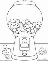 Gumball Machine Coloring Drawing Worksheets Gum Bubble Pages Kindergarten Worksheet Para Education Colors Sheets Gumballs Candy Learning Theme Preschool Printable sketch template