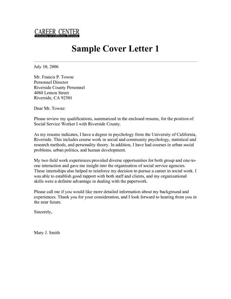Cover Letter For Community Service Worker by Social Worker Cover Letter Sle No Experience