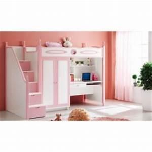 Lit Combiné Bureau Fille : lit avec rangement fille ~ Melissatoandfro.com Idées de Décoration
