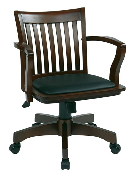 Wood Bankers Chair Uk by Espresso Finish Mission Swivel Bankers Office Wood Chair W