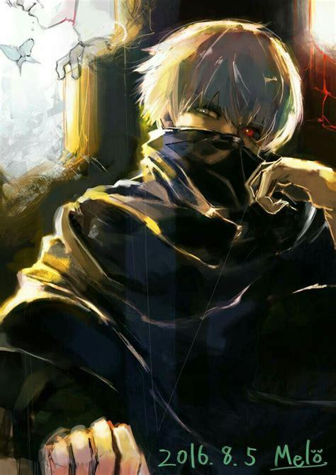 kaneki ken ghoul white hair mask text tokyo ghoul